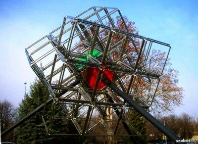 metal statue cube