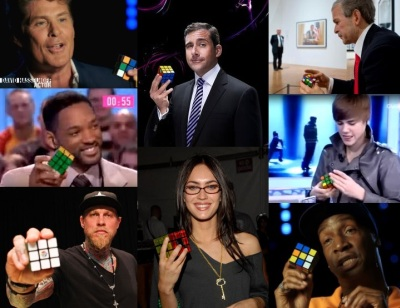 celebrities playing with rubiks cube