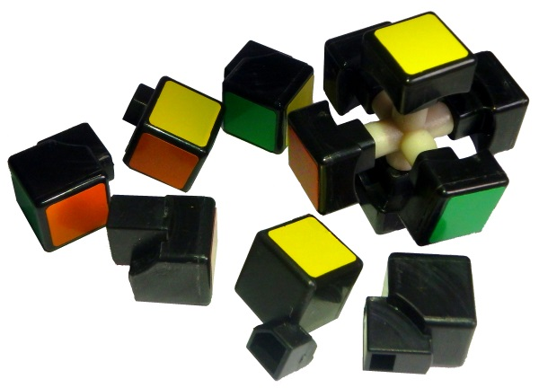 disassembled rubiks cube