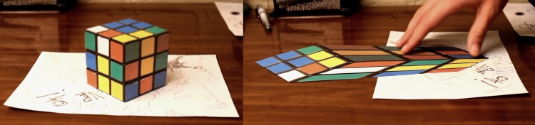 anamorphic rubik's cube illusion perspective