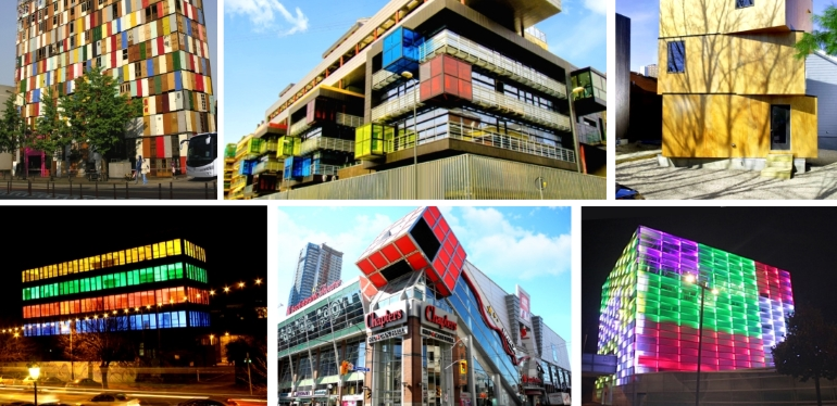 rubiks cube buildings architecture