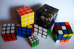 different sized Rubiks Cubes