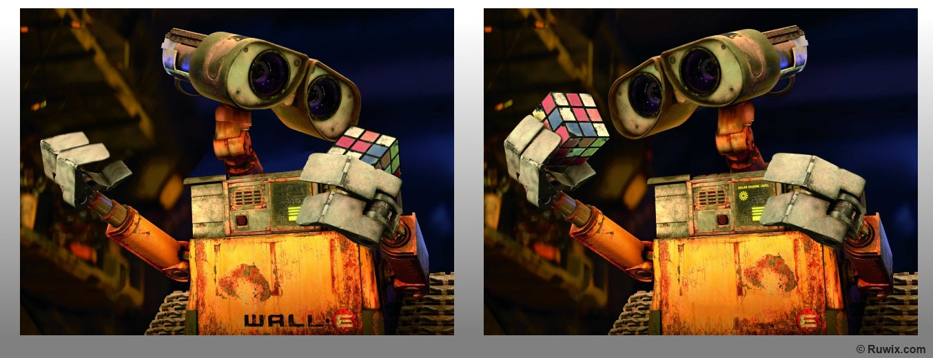 Rubik's Cube wall-e spot the difference