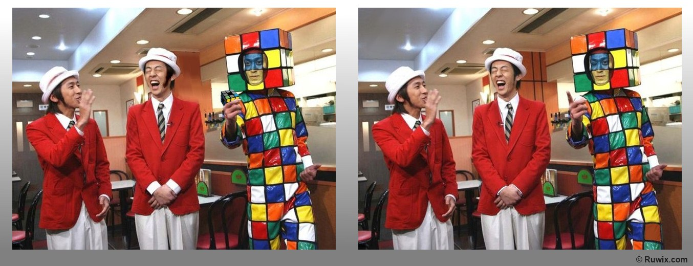 Rubik's Cube halloween costume spot the difference