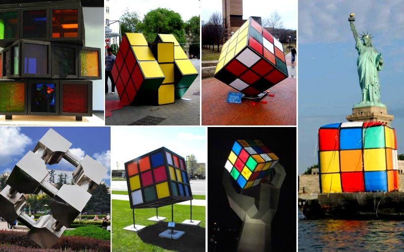 rubiks cube statues