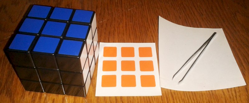 tools to change Rubiks Cube stickers