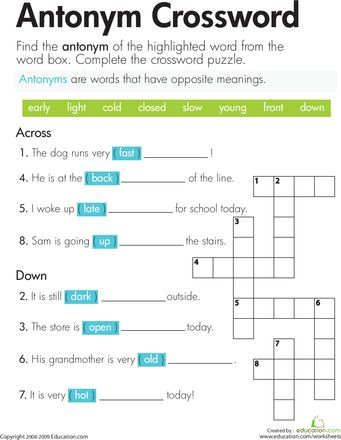 image about Thomas Joseph Crossword Printable titled Crossword Puzzles for Young children